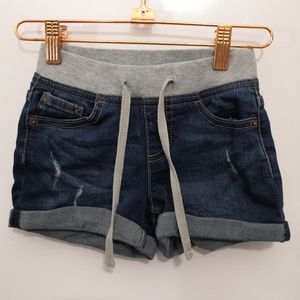 Justice Bottoms - Justice Denim Jean Shorts Drawstring Wash Distress